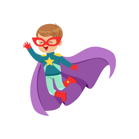Comic cute flying kid in colorful superhero costume with star on the chest, mask and developing in the wind purple cloak. Child with extraordinary abilities. Vector cartoon flat super boy character.