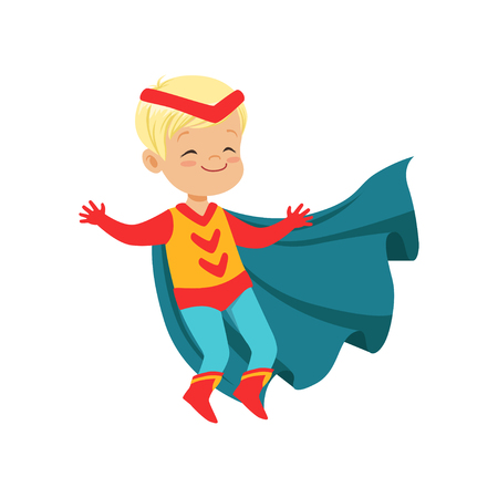 Comic cute blond kid in colorful superhero costume with red headband and developing in the wind blue cloak, jumping with hands up. Child with magical powers. Vector cartoon flat super boy character.