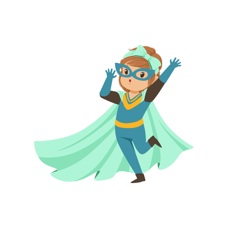 Comic brave kid standing on one leg and waving her hand. Dressed in superhero costume, mask and developing in the wind blue cloak. Child with magical power. Vector cartoon flat super girl character.