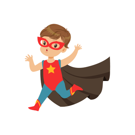 Comic cute brave kid in superhero costume with star, red mask and developing in the wind black cloak, running with hands up. Child with extraordinary abilities. Vector cartoon flat super boy character Illustration