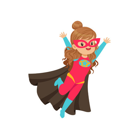 Comic happy flying kid in colorful superhero costume with star, mask and developing in the wind cape. Child with extraordinary abilities. Vector cartoon flat super girl character in Halloween costume