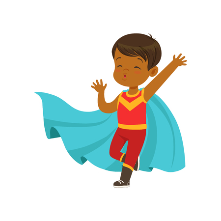Comic brave kid in superhero red costume with mask on his face and developing in the wind blue cloak, posing with hands up. Child with extraordinary abilities. Vector cartoon flat super boy character. Illusztráció