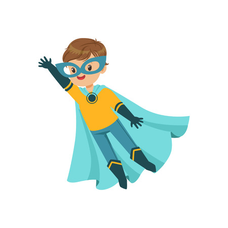 Comic brave kid in blue and yellow superhero costume with mask and developing in the wind cloak, flying with one hand up. Child with magical powers. Halloween costume. Vector flat super boy character.