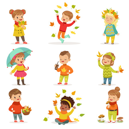 Autumn children s outdoor seasonal activities set. Collecting leaves, playing and throwing leaves, picking mushrooms, walking. Flat cartoon vector.