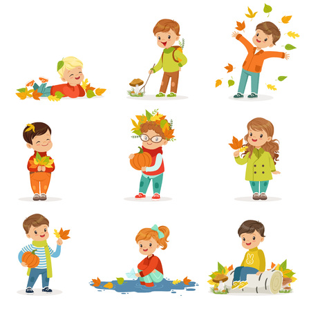 Autumn children s outdoor seasonal activities set. Collecting leaves, playing and throwing leaves, picking mushrooms, holding a pumpkin. Flat vector. Vettoriali