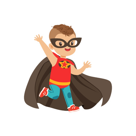 Comic brave kid with trendy haircut in colorful superhero costume. Children s game. Vector cartoon flat super boy character. Vettoriali
