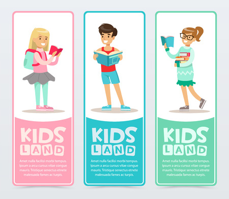 Set of banners with cheerful teens holding books in hands. Young boy and girls learning and studying. School flat vector characters reading books.