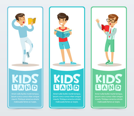 Set of vertical banners with teenagers reading books aloud. Young boys learning and studying. Enjoying literature. Flat vector school characters