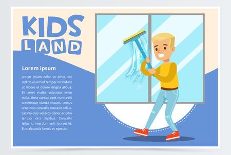 Blauwe kaart met jonge jongen die het venster met wisser wast. Kind helpen met het huishouden en huis opruimen, huishoudelijke taken. Vector stripfiguur.