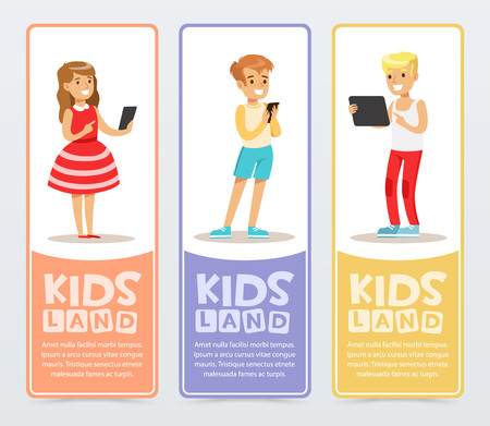 Set of vertical banners with teenagers using modern gadgets and reading e-books. Learning and studying. Education concept. Flat vector characters.  イラスト・ベクター素材