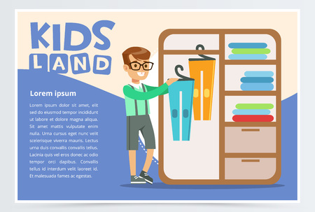 Card with boy hangs clothes in the closet. Kid doing a home cleanup, household chores. Teenager cleaning his room. Flat style cartoon vector illustration.