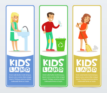 Set of vertical banners with children characters doing household chores washing dishes, sweeping the floor, throwing away plastic bottles. Vector illustration Illusztráció