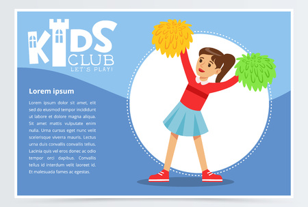 Creative blue poster for kids club with happy teenager girl cheerleader dancing with pom poms. Colorful flat vector character. Illustration