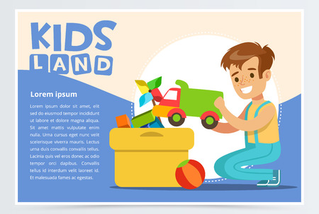 Cute boy putting his toys in special box. Teenager cleaning his room. Creative blue card with place for text. Colorful flat style cartoon vector illustration.
