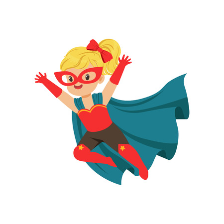 Comic brave flying kid in superhero costume with red mask and gloves, blue cape developing in the wind. Children s game. Vector super girl character.