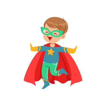 Comic little kid in colorful superhero costume jumping with hands up. Halloween costume. Vector flat super boy character.