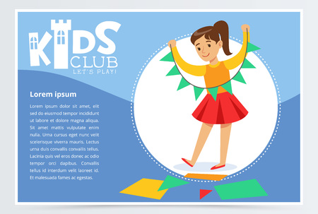 Creative blue poster for kids club with little girl character doing paper garland. Entertainment or development center promo. Flat vector illustration. Ilustrace