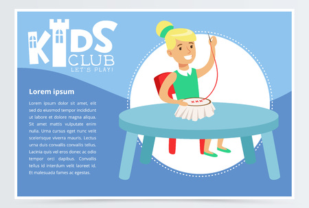 Kids club poster with cute girl character sitting at the table and doing needlework. Cross stitch embroidery. Colorful flat vector Иллюстрация