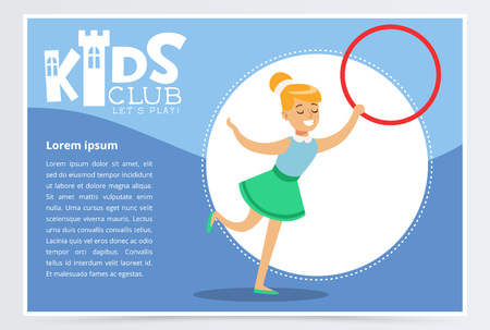 Poster for kids club with cute teen girl with hula-hoop, creative child practicing arts. Extra-curricular activities. Colorful vector illustration