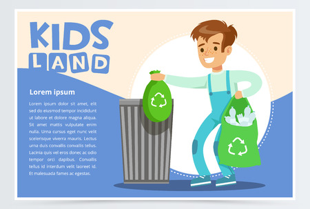 Blue card with boy throwing away bin bags filled with plastic bottles. Kid doing household chores. Colorful flat style cartoon vector illustration.