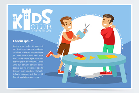 Creative blue poster for kids club with happy boys characters making applique. Hand made and paper crafts class. Colorful flat cartoon vector illustration