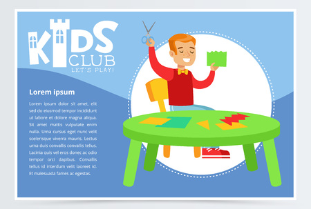 Blue poster for kids club with cheerful boy character making applique. Paper crafts class. Extra-curricular activities. Colorful flat cartoon vector. Çizim
