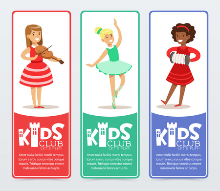 Vertical banners set with teenager girls practicing arts, playing the violin and accordion, ballet dancing. Kids club promo. Vector illustration. 向量圖像