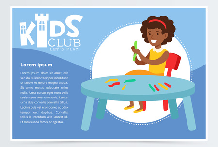 Smiling girl character engaged in clay modeling. Creative blue poster for kids club, art school or classes. Cartoon vector illustration.