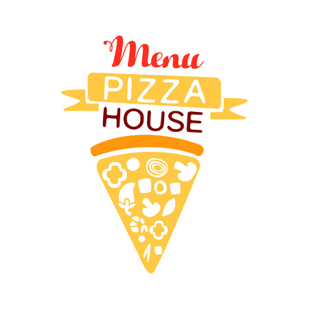 Colorful pizza house menu with ribbon and fast food baked goods. Italian pizzeria badge or label design. Vector on white.