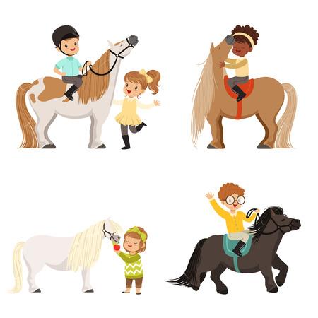 Lindos niños pequeños montando ponies y cuidando de su conjunto de caballos, deporte ecuestre, ilustraciones de vectores