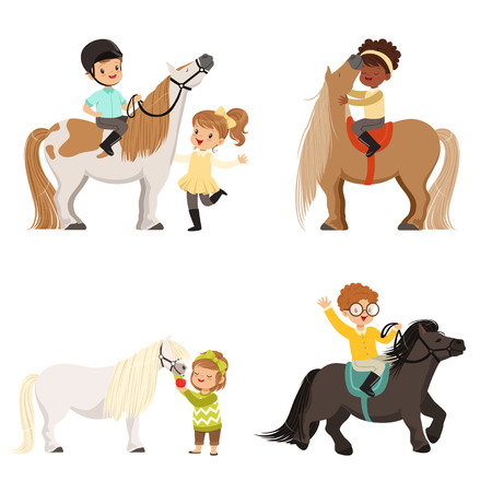 Cute little children riding ponies and taking care of their horses set, equestrian sport, vector Illustrations