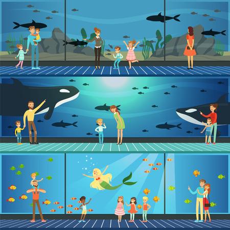 Personas que visitan un conjunto de ilustraciones vectoriales de oceanarios, padres con niños que miran paisajes submarinos con animales marinos Ilustración de vector