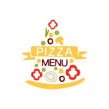 Flat colorful pizza slice shape with vegetables, ribbon and text. Emblem for cafe menu, food delivery company. Vector isolated on white