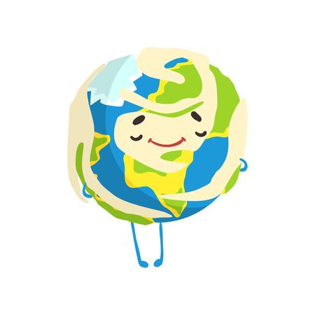 Cute happy cartoon Earth planet character smiling, funny globe emoji vector Illustration