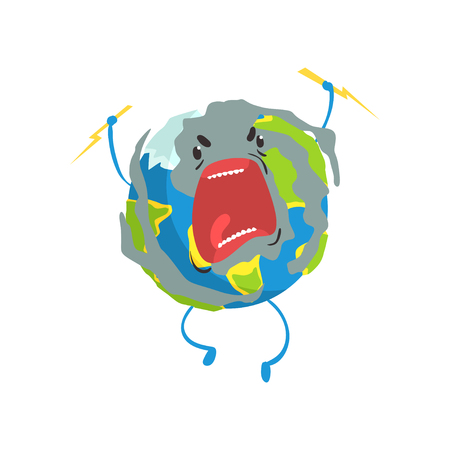 Angry cartoon Earth planet character, lightning sparkling in its hands, funny globe emoji vector Illustration