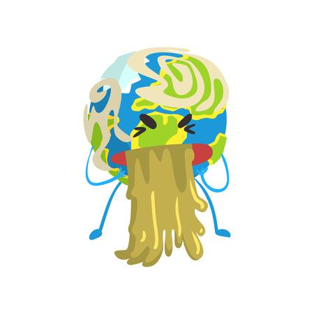 Vomiting cartoon Earth planet character, funny globe emoji vector Illustration