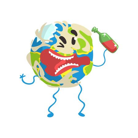 それを手でボトルと酔った漫画地球惑星のキャラクター、面白い地球絵文字ベクトルイラスト  イラスト・ベクター素材