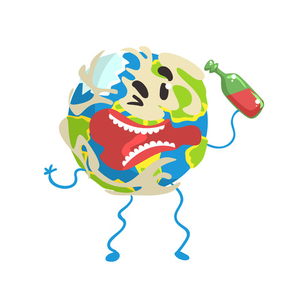 Drunk cartoon Earth planet character with bottle with it hands, funny globe emoji vector Illustration