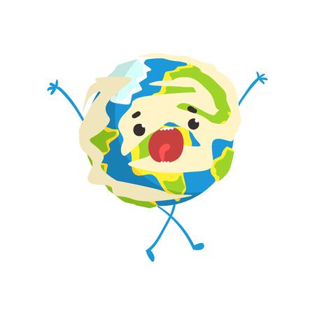 Carattere sveglio del pianeta della terra del fumetto che sta con la bocca aperta, illustrazione divertente di vettore di emoji del globo Archivio Fotografico - 90579026