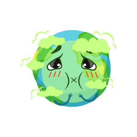 Earth planet karakter verstikkend van kooldioxide, luchtvervuiling vector illustratie Stock Illustratie