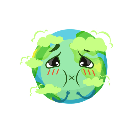 Earth planet character suffocating from carbon dioxide, atmospheric pollution vector Illustration