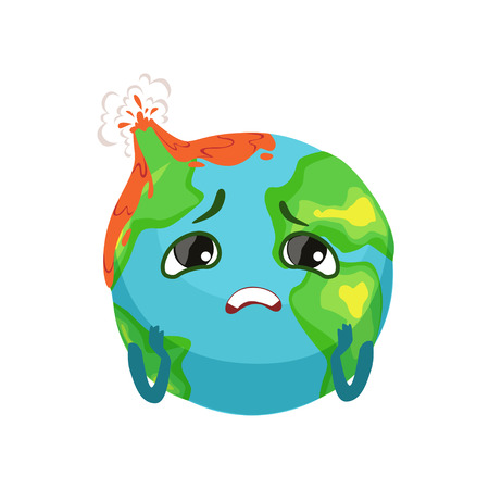 Sad Earth planet character with volcanoes erupting, cute globe with face and hands vector Illustration Vectores