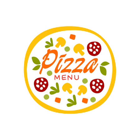 Simple flat vector colorful pizza with vegetables and sausage for pizzeria business design. Fast food baked goods label. Illustration