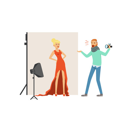 Angry man photographer with camera yelling at model girl in long red dress. Professional studio with equipment soft box and backdrop on stand. Isolated flat vector