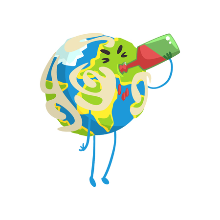 Drunk cartoon Earth planet character drinking wine, funny globe emoji vector Illustration
