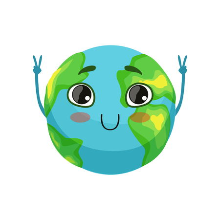 Funny Earth planet character showing victory sign, cute globe with smiley face and hands vector Illustration Vectores