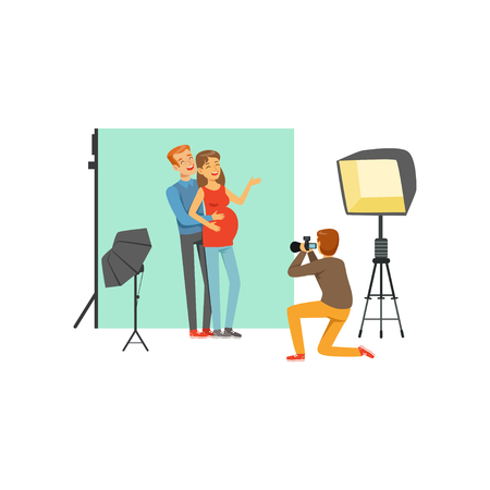 Happy young couple, man and pregnant woman in photo studio. Photographer sitting on his knee and taking family picture by camera. Cartoon people characters. Flat vector Illustration