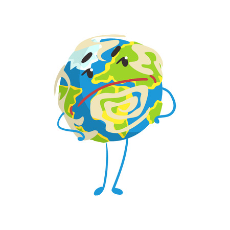 Cute skeptical cartoon Earth planet character with hands on its waist, funny globe emoji vector Illustration Illustration