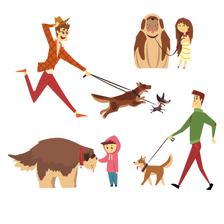 People walking and playing with their dogs set, ute pets with their owners cartoon vector Illustrations
