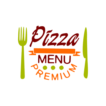 Flat vector premium pizza house menu creative design with fork and knife. Fast food baked goods. Colorful pizzeria badge.